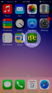 Find your new bookmark on your Home screen. Touch to open the RPC Mobile.