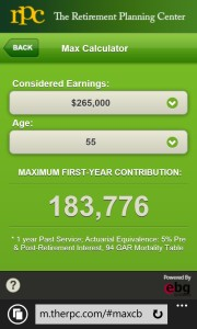 Access Dollar Limits, Cash Balance Maximum Contribution calculator, and more.